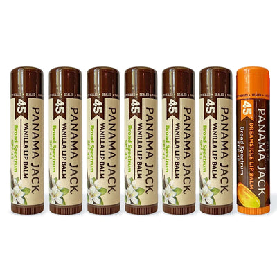 6 Pack PLUS - 6 Vanilla & 1 FREE Dreamsicle Lip Balm SPF 45