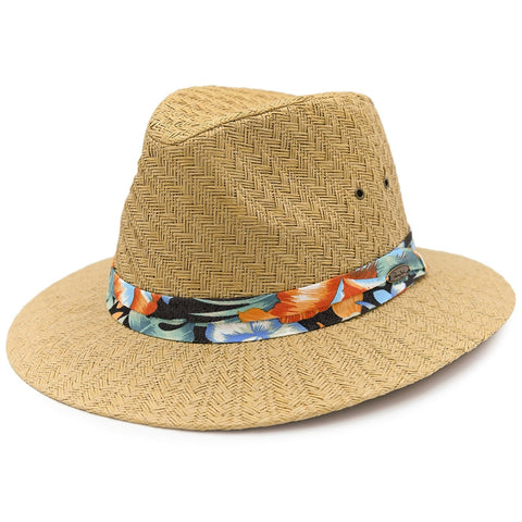 Tropical Ribbon Matte Toyo Safari Hat