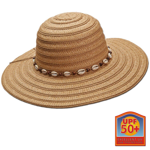 Summer Shells Paper Braid Big Brim Sun Hat