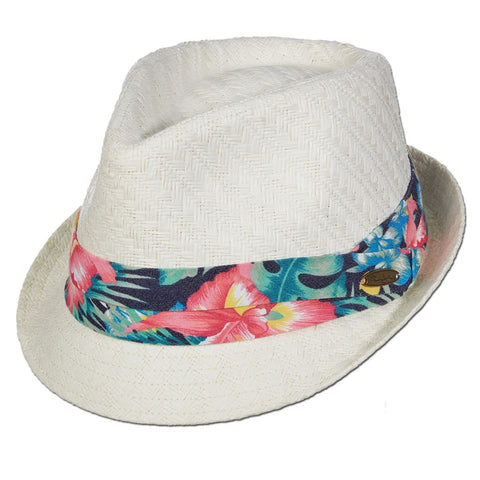 Tropical Band Matte Toyo Fedora Hat