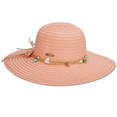 Colorful Beach Shells Paper Braid Sun Hat