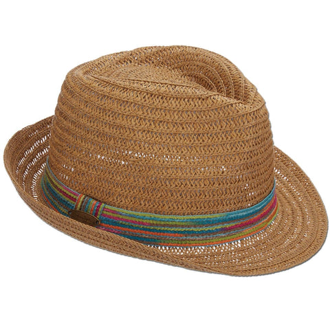 Paper Braid Multi-Color Band Fedora Hat