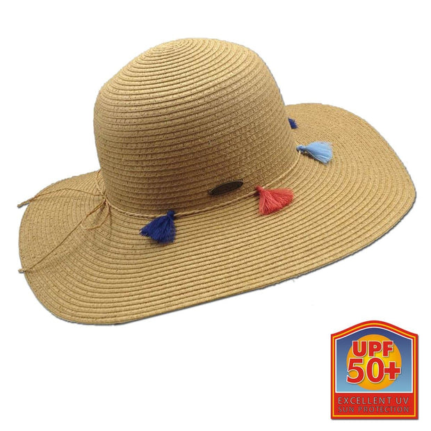 Tassels Paper Braid Big Brim Sun Hat