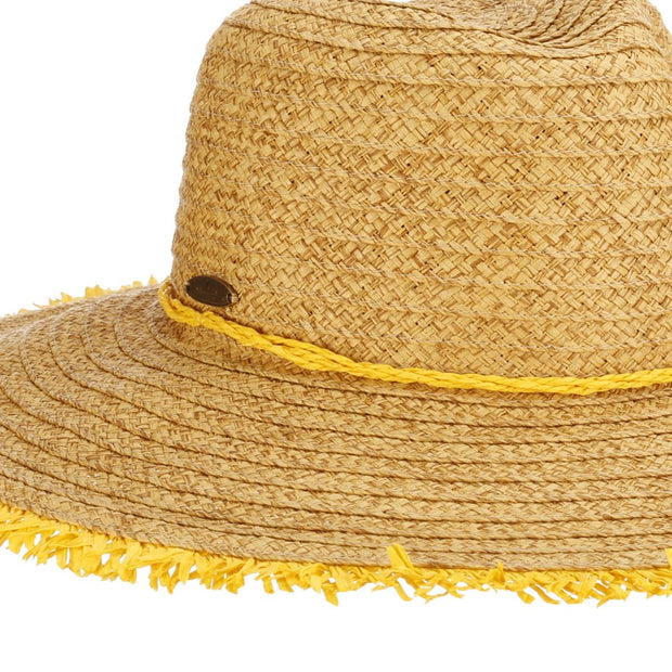 Paper Braid Floppy Frayed Brim Sun Hat