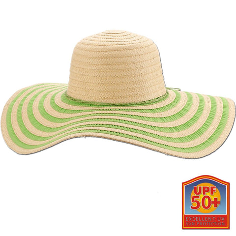 Ribbon and Braid Two-Tone Floppy Brim Sun Hat