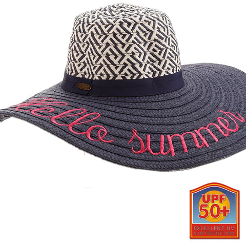 Paper Braid Embroidered Phrases Sun Hat