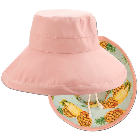 Reversible Pineapple Print Big Brim Drawstring Sun Hat