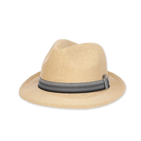 Matte Toyo Striped Ribbon Fedora Hat
