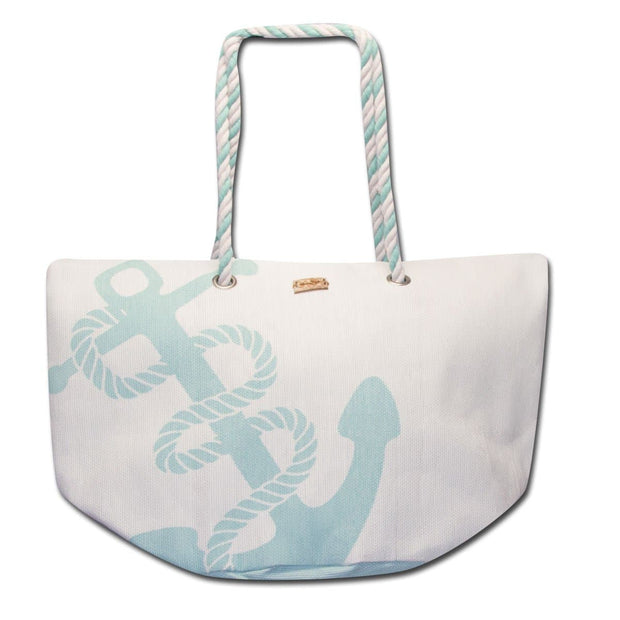 Zipper Closure Large Anchor Tote Bag