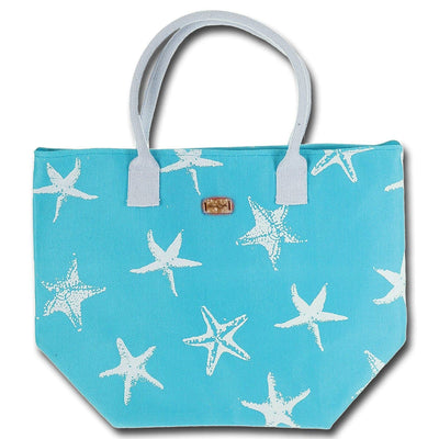Starfish Print Beach Tote Bag
