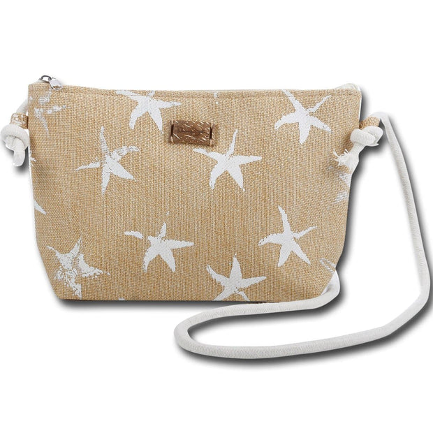 Starfish Print Crossbody Beach Tote Handbag