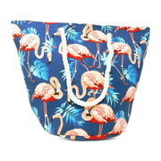 Flamingo Print Beach Rope Tote Bag