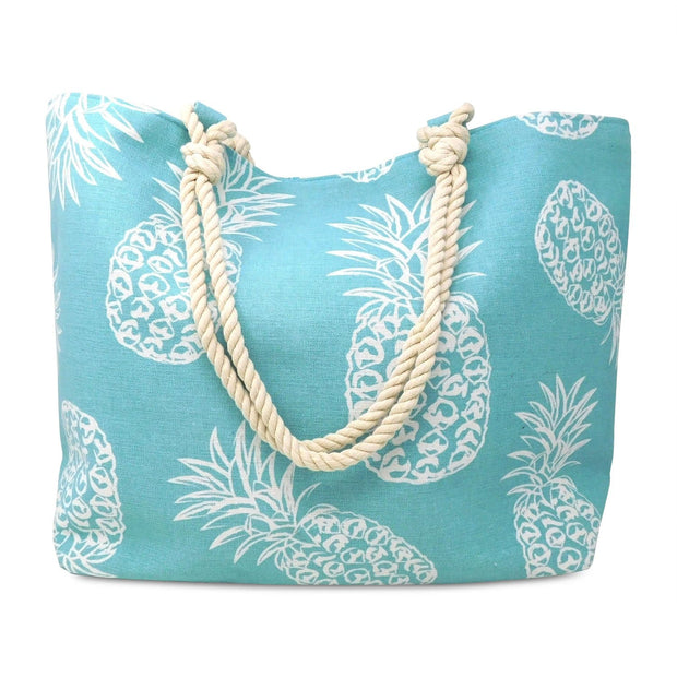 Pineapple Print Beach Rope Tote Bag
