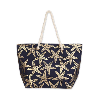 Metallic Starfish Beach Rope Tote Bag