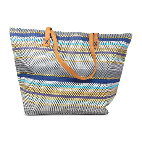Metallic Toyo Straw Beach Tote Bag