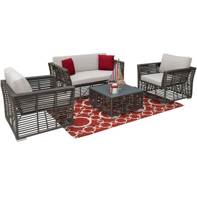 Graphite 4 PC Living Set with Cushions