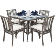 Graphite 5 PC Side Chairs Dining Set with Cushions