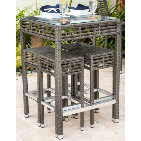 Graphite Square Pub Table with Glass