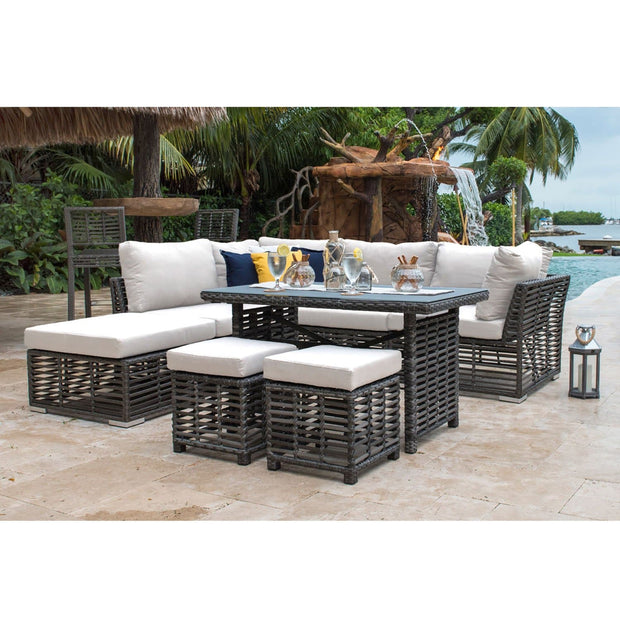 Graphite 7 PC High Coffee Table Sectional with Cushions
