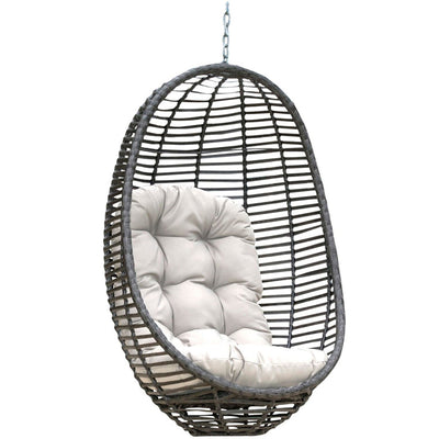 Graphite Woven Hanging Chair with Cushion