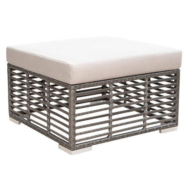 Graphite Square Ottoman with Cushion