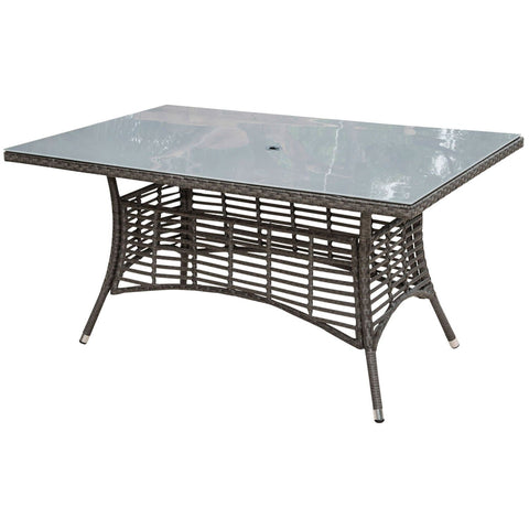 "Graphite Rectangular 36"" X 60"" Table with Frost Glass and Hole"