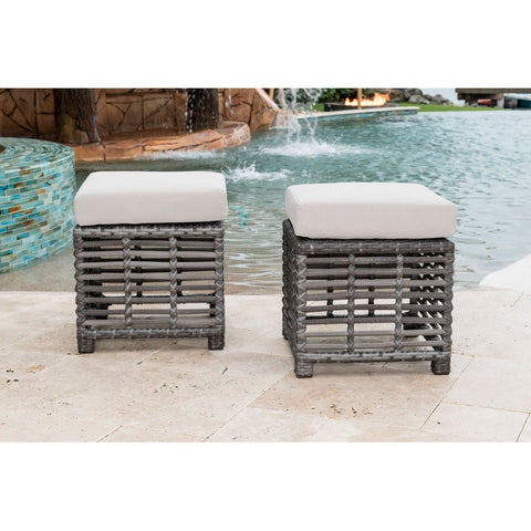 Graphite Small Ottomans with Cushions (Set of 2)