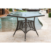 "Graphite Square Dining Table 36"" with Frost Glass and Hole"