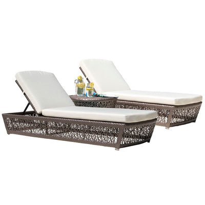 Maldives 3 PC Chaise Lounge Set with Cushions