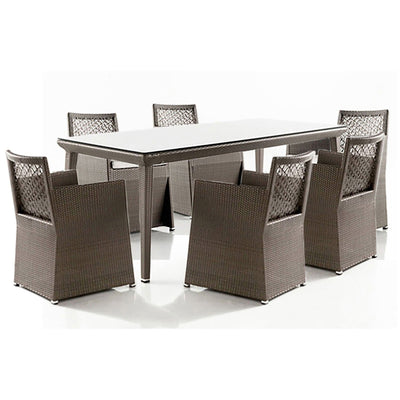 Maldives 7 PC Woven Dining Set with Cushions