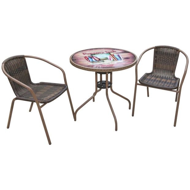 Café 3 PC Chairman of The Boards Arm Chair Bistro Set