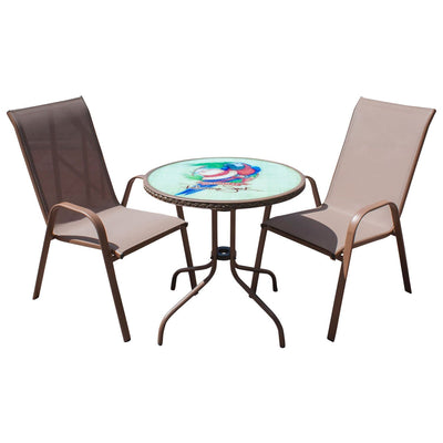 Café 3 PC Parrot & Hat High Back Sling Bistro Set