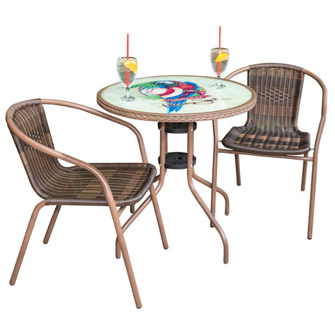 Café 3 PC Parrot & Hat Arm Chairs Bistro Set