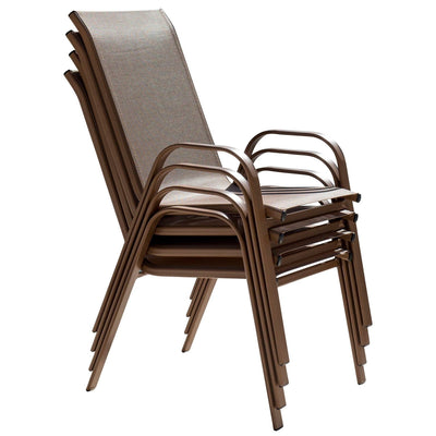 Café Stackable High Back Sling Arm Chairs (Set of 4)