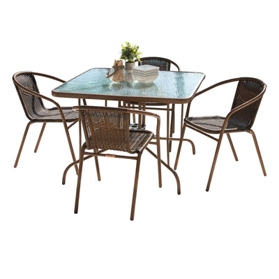 Café 5 PC Woven Arm Chairs Dining Set