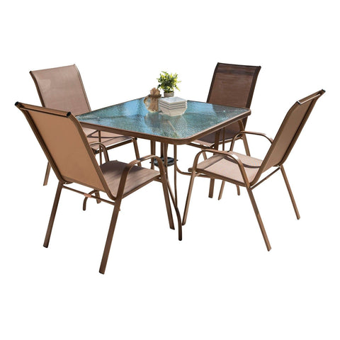 Café 5 PC High Back Sling Chairs Dining Set