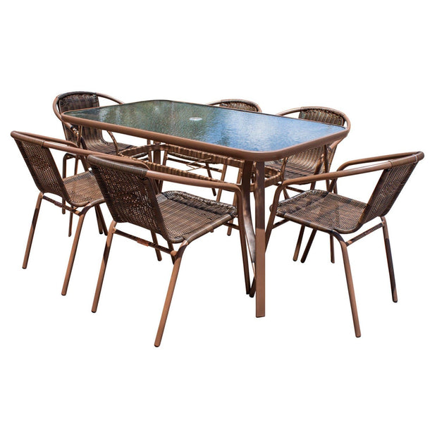 Café 7 PC Woven Arm Chairs Dining Set