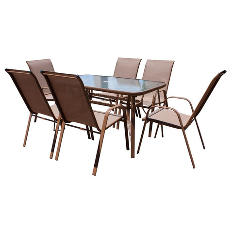 Café 7 PC High Back Sling Chairs Dining Set