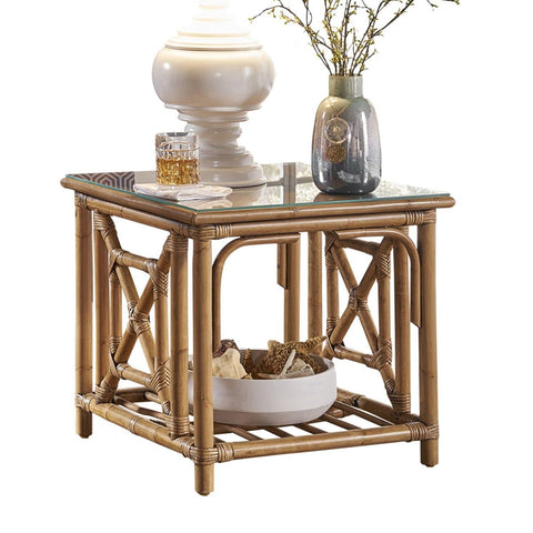 Plantation Bay End Table with Glass