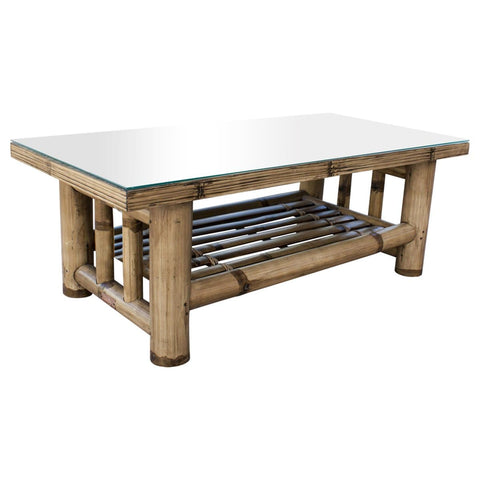 Kauai Bamboo Coffee Table with Glass