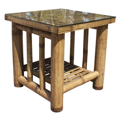 Kauai Bamboo End Table with Glass
