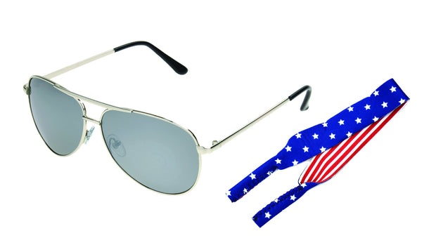 Polarized Silver Aviator Sunglasses w/ Stars & Stripes Cord