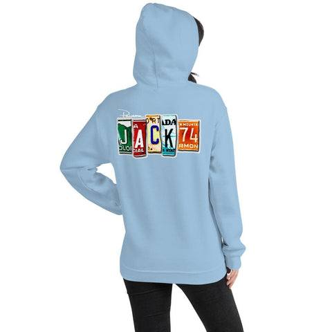 Jack 74 License Plate Unisex Hoodie - 2 Sided Print