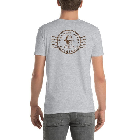 Original Stamp Man Short-Sleeve Unisex T-Shirt - 2 Sided Brown Print