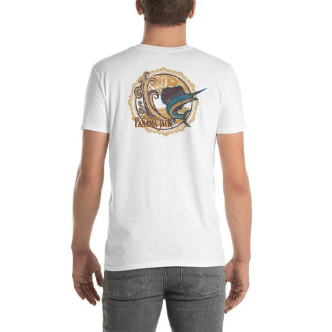 Woodcut Sailfish Short-Sleeve Unisex T-Shirt - 2 Sided Print
