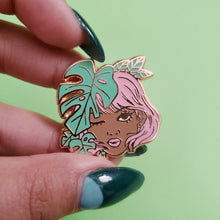 Load image into Gallery viewer, Monstera Girl Enamel Pin