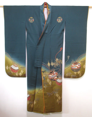 VINTAGE SILK TEAL FURISODE