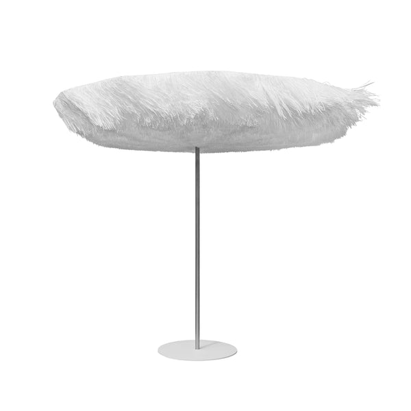 White Outdoor Fringe Parasol