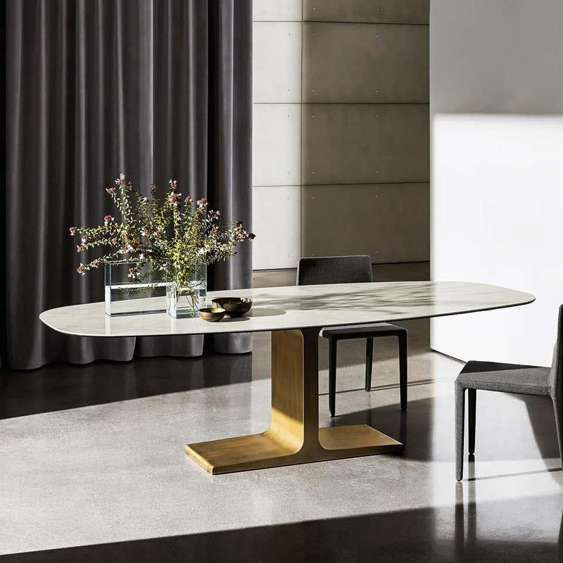 Royal, Dining Table Black Glass Top on Brass Base