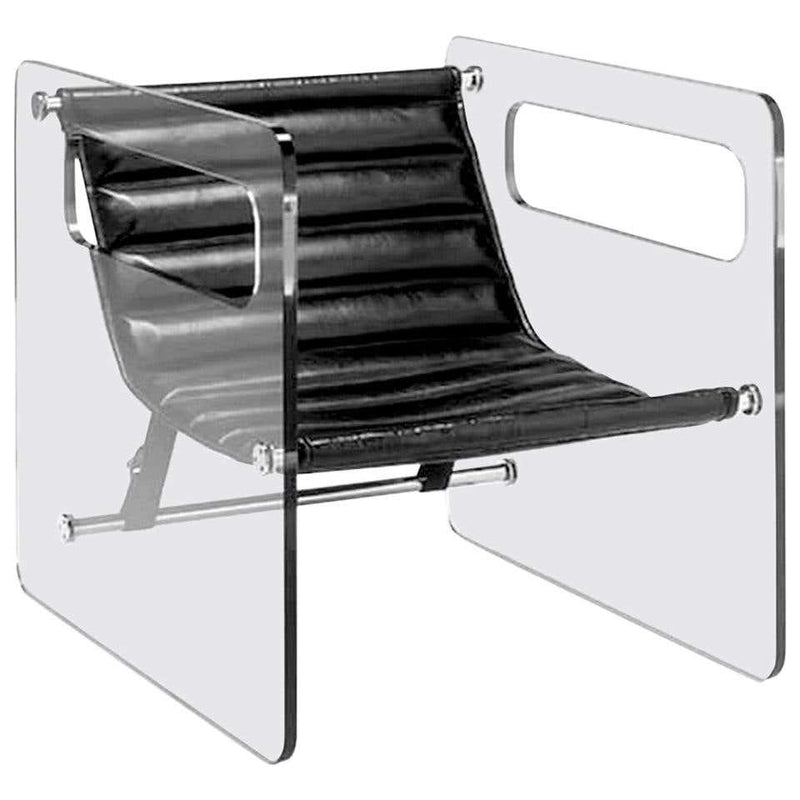 Glass & Leather Black Naked Chair